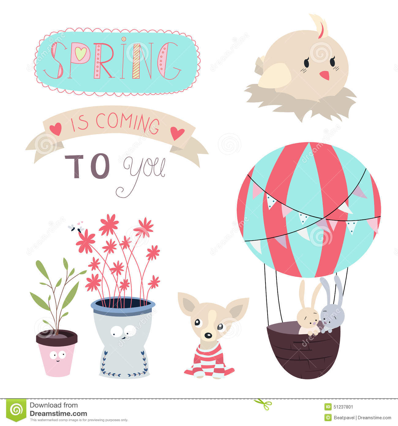 Spring is coming Vector Set