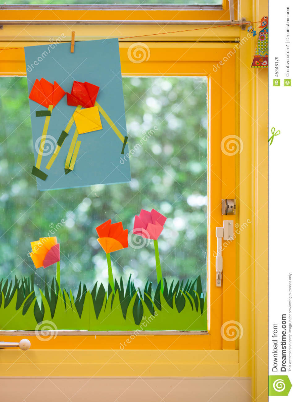 Classroom Decoration Window ~ Spring concept on an elementary school stock photo image