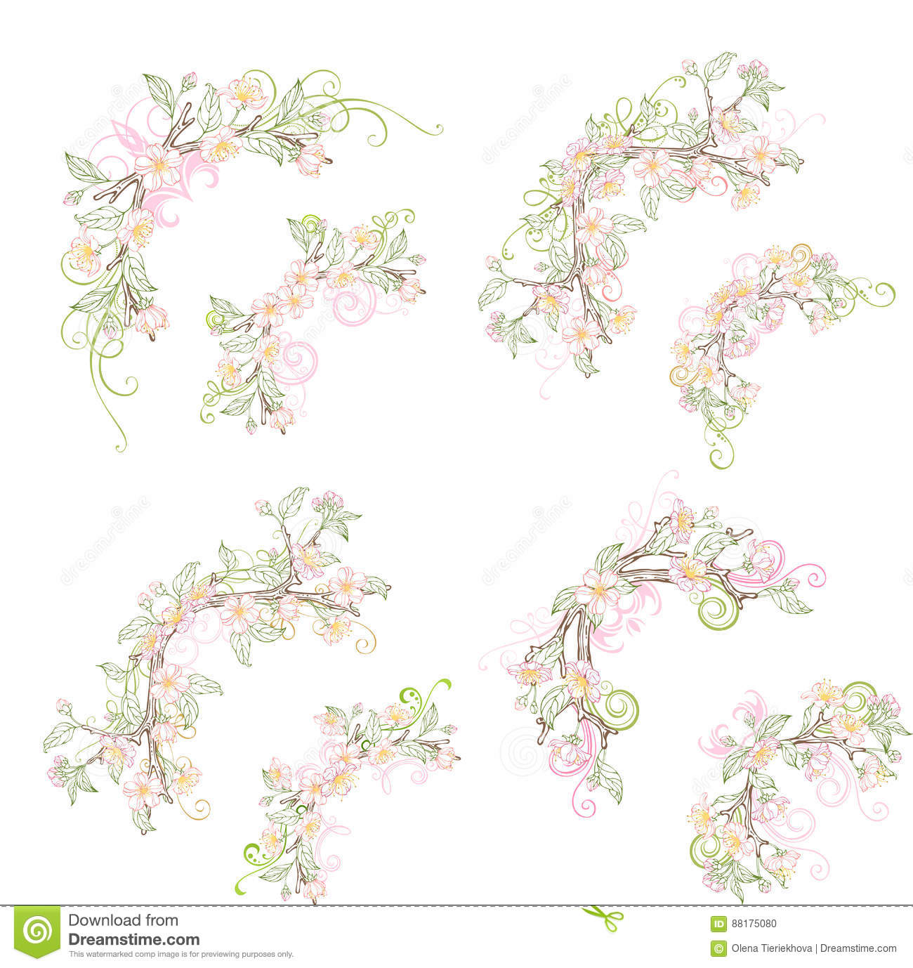 Spring Corner Page Decorations Isolated On White Background.