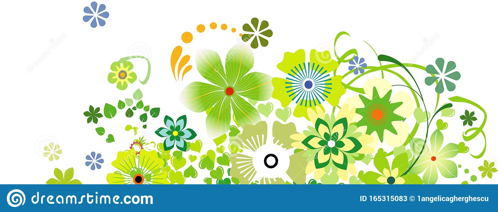 Spring Decoration With Leaves And Flowers For Facebook Cover