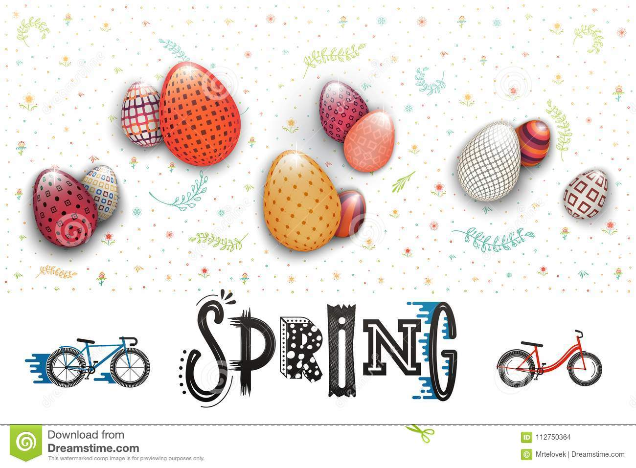 Spring Easter Is A Beautiful Badge Lettering And The Pattern Of Eggs