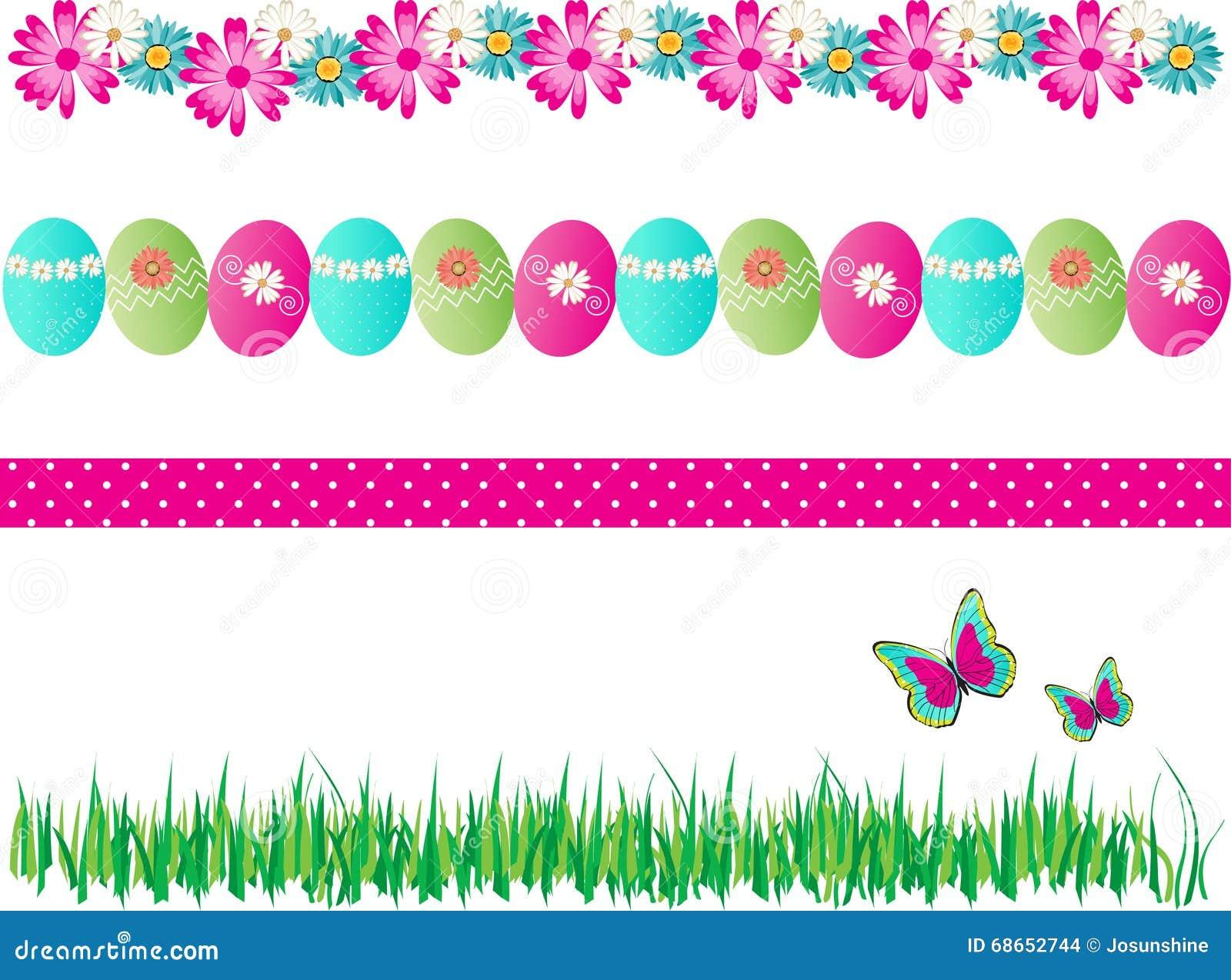 4 Spring Easter Borders Decorative Vector Stock Vector
