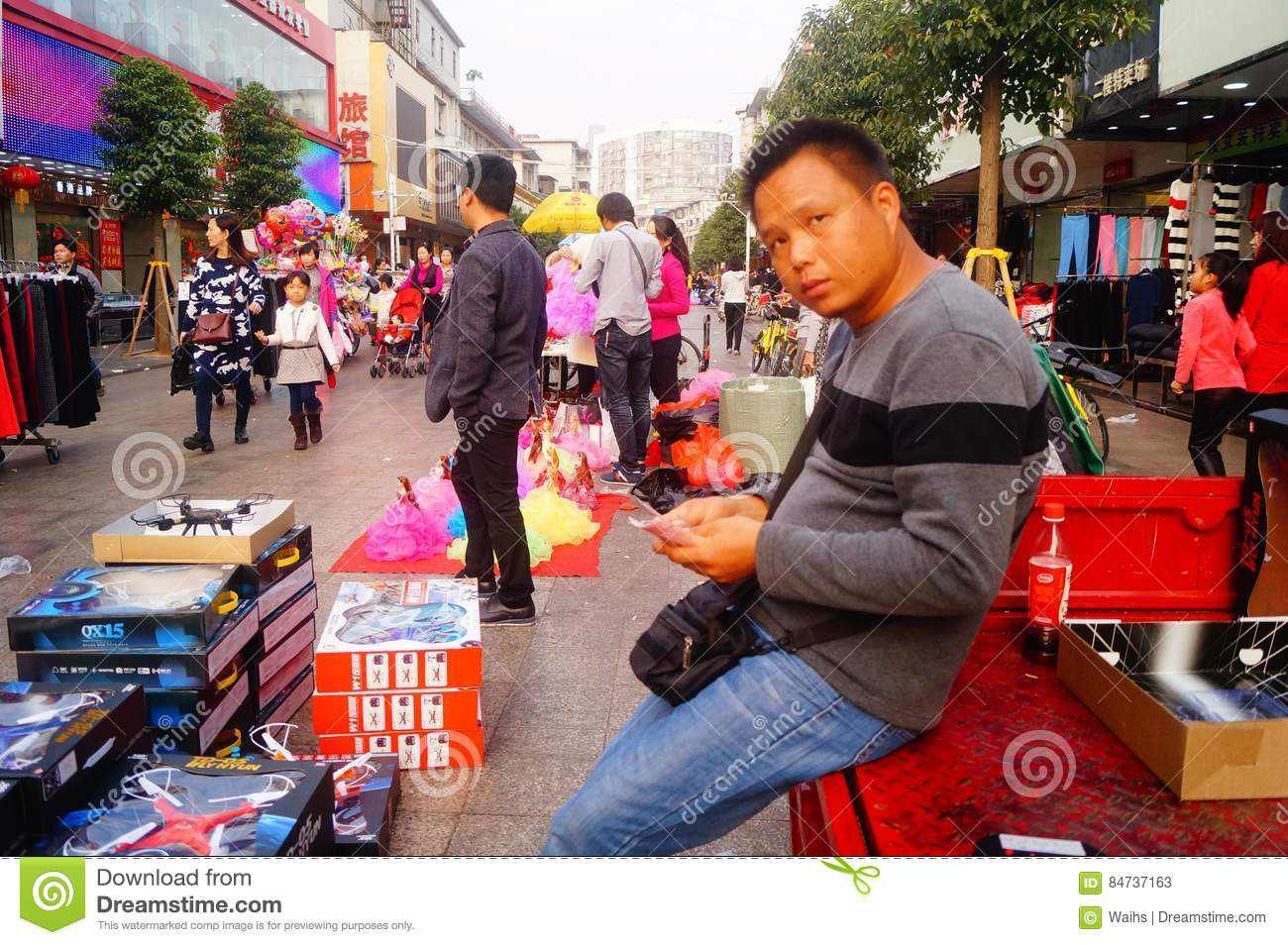 Shenzhen, China: stalls on pedestrian street, sale of handicrafts and other commodities