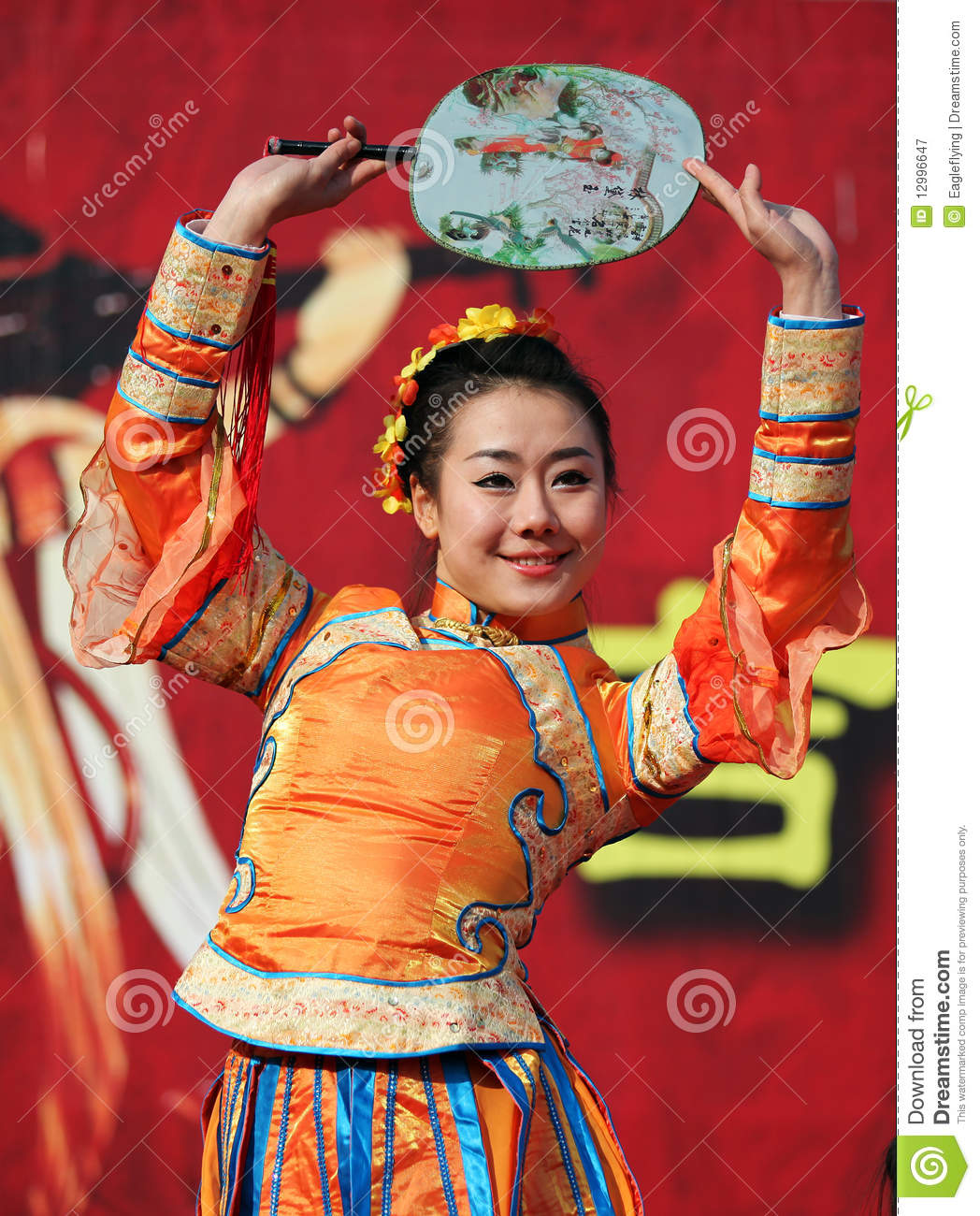Spring Festival Temple Fair / Chinese female dance