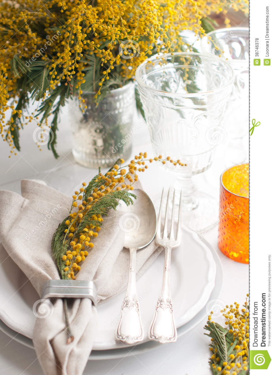 Spring Festive Dining Table Setting Royalty Free Stock