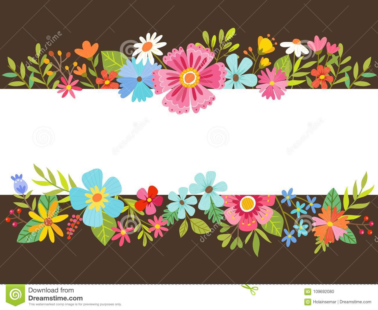 Spring Floral Background With Cartoon Flowers Stock Vector