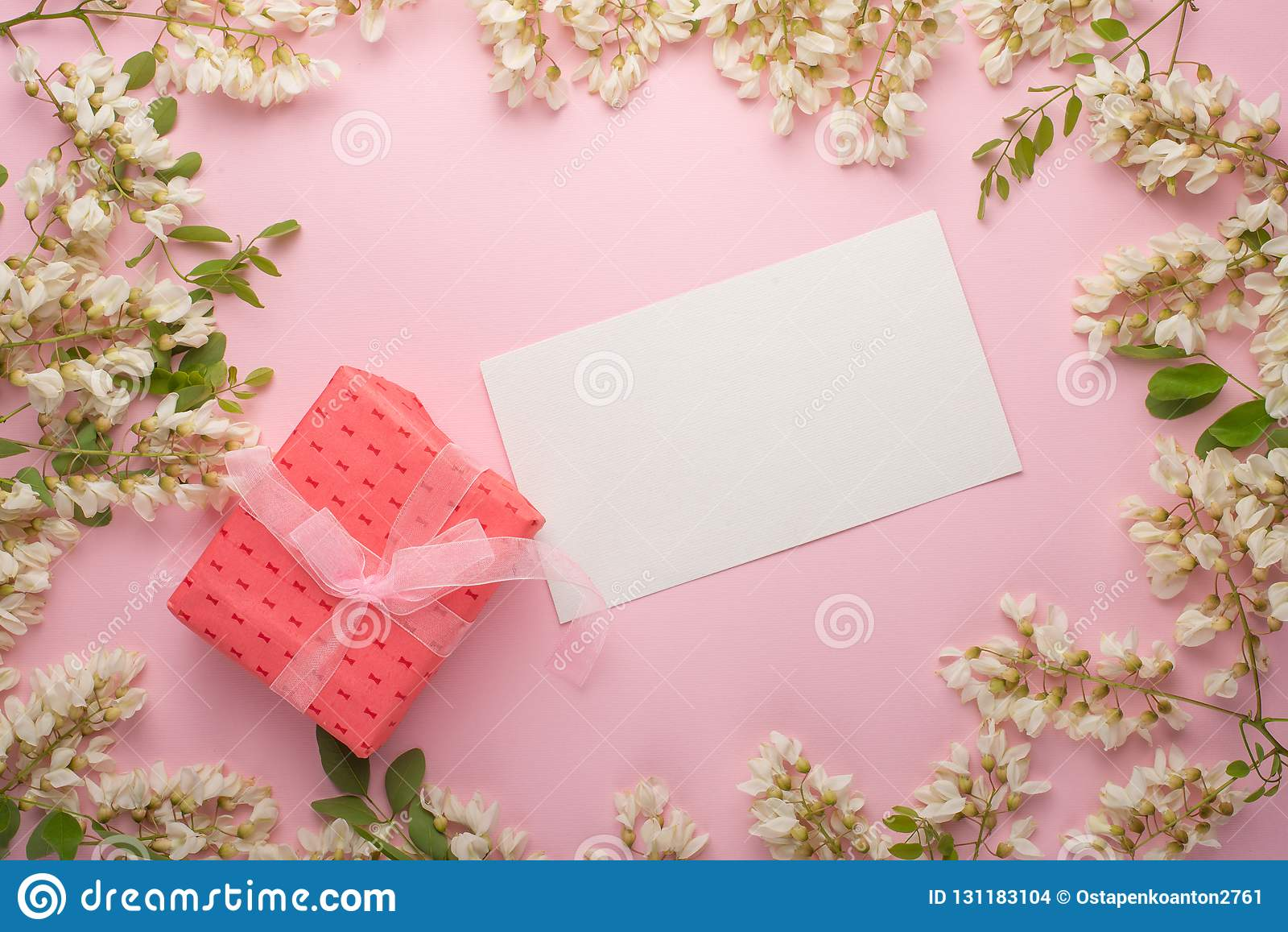 Spring Floral Background With Gift, Texture And Wallpaper