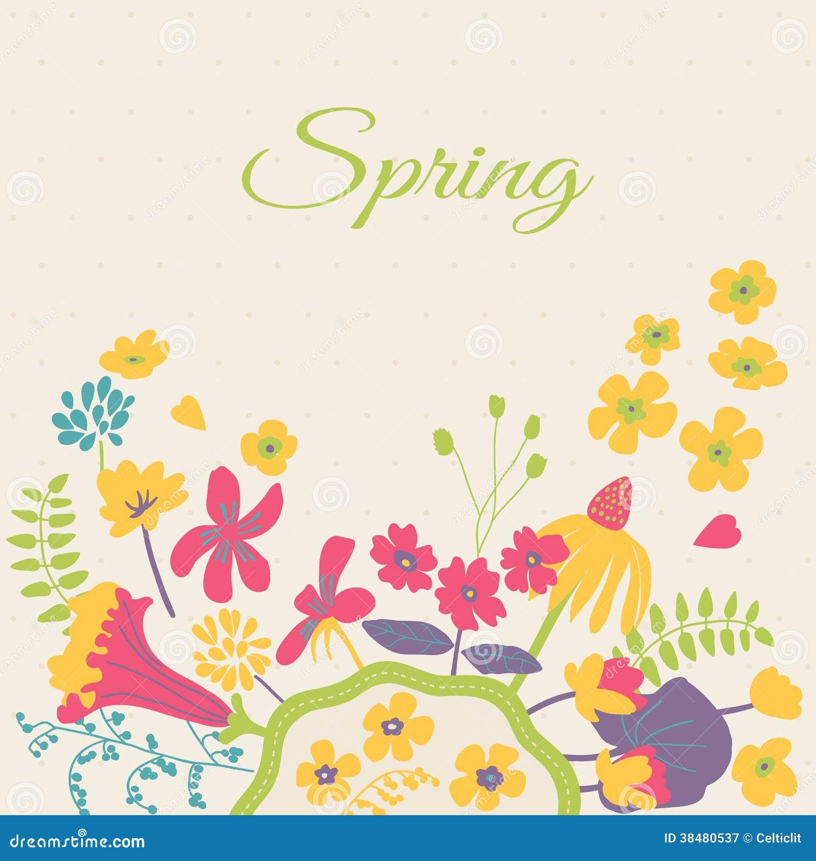 Spring Floral Cartoon Card Stock Vector Illustration Of Card 38480537