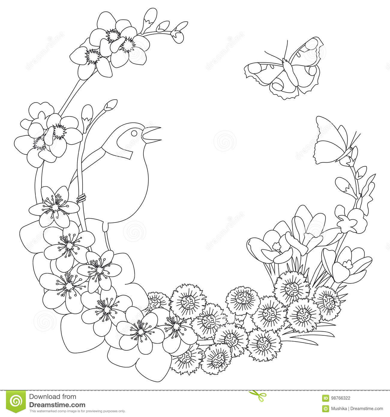 spring floral elegant wreath coloring page outline round outline decoration