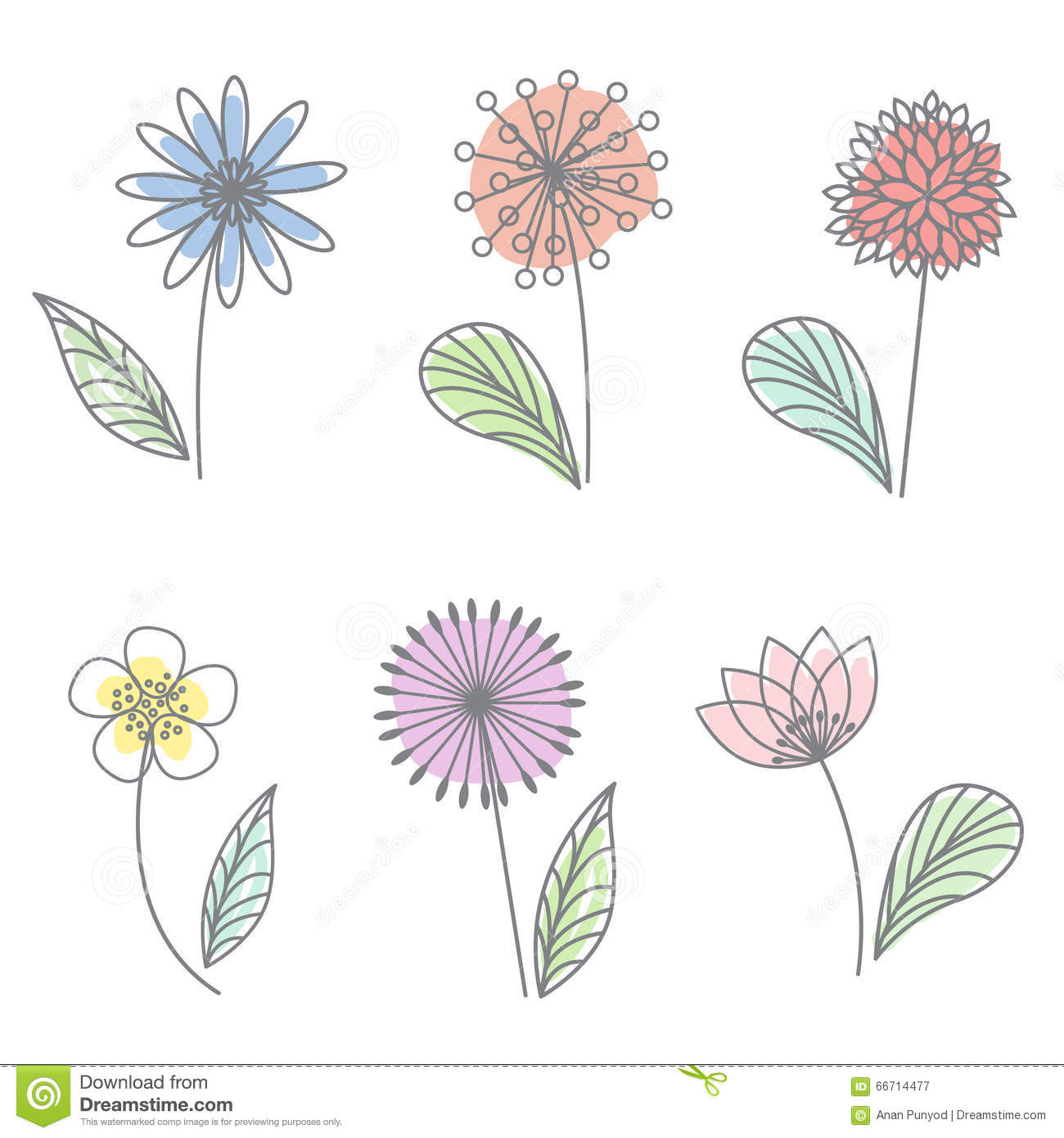 Line Drawing Flower Vector : Spring floral flower pastel line draw art vector set