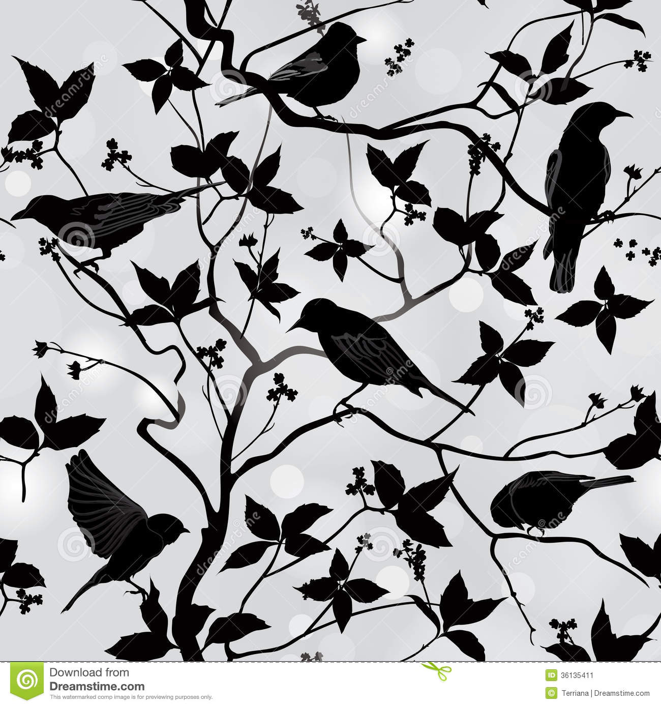 Wallpaper With Birds spring floral seamless wallpaper with birds on branches stock