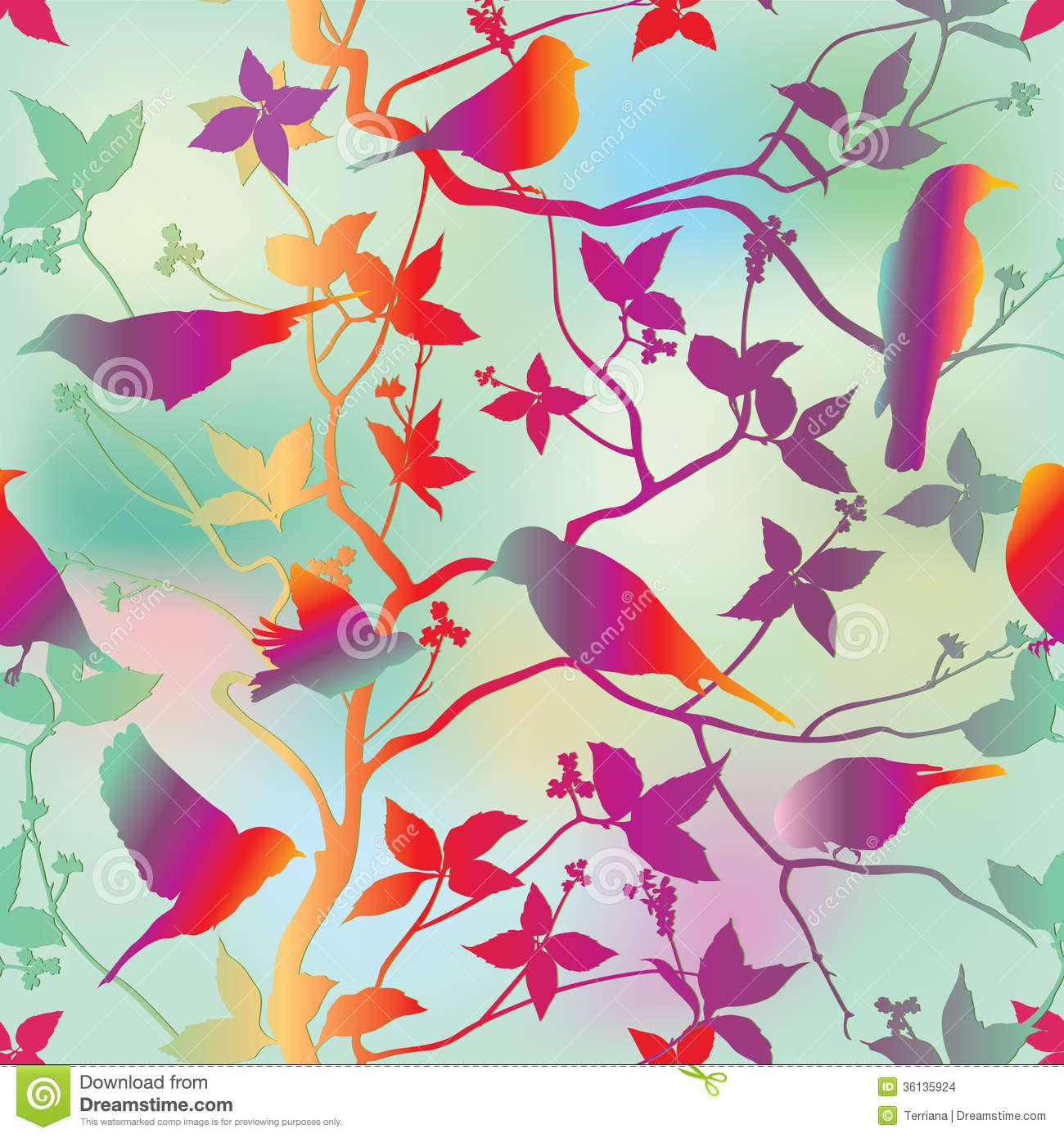 Wallpaper With Birds spring floral seamless wallpaper with birds on branches over blue