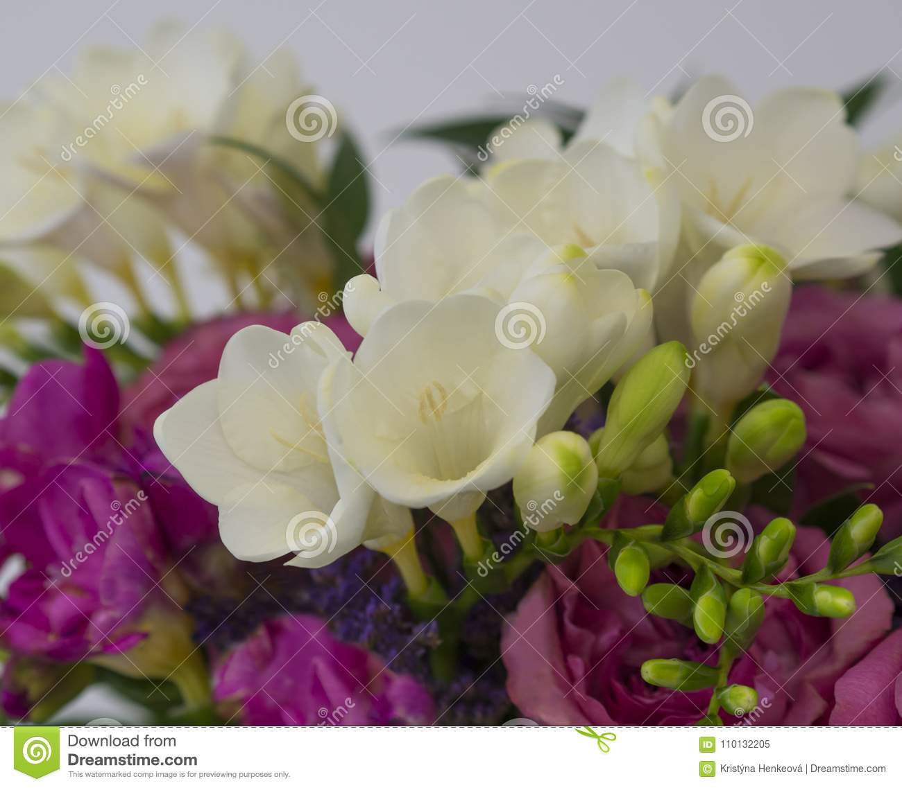 Spring Flower Background Pink Rose And White Freesia Flower Bouq