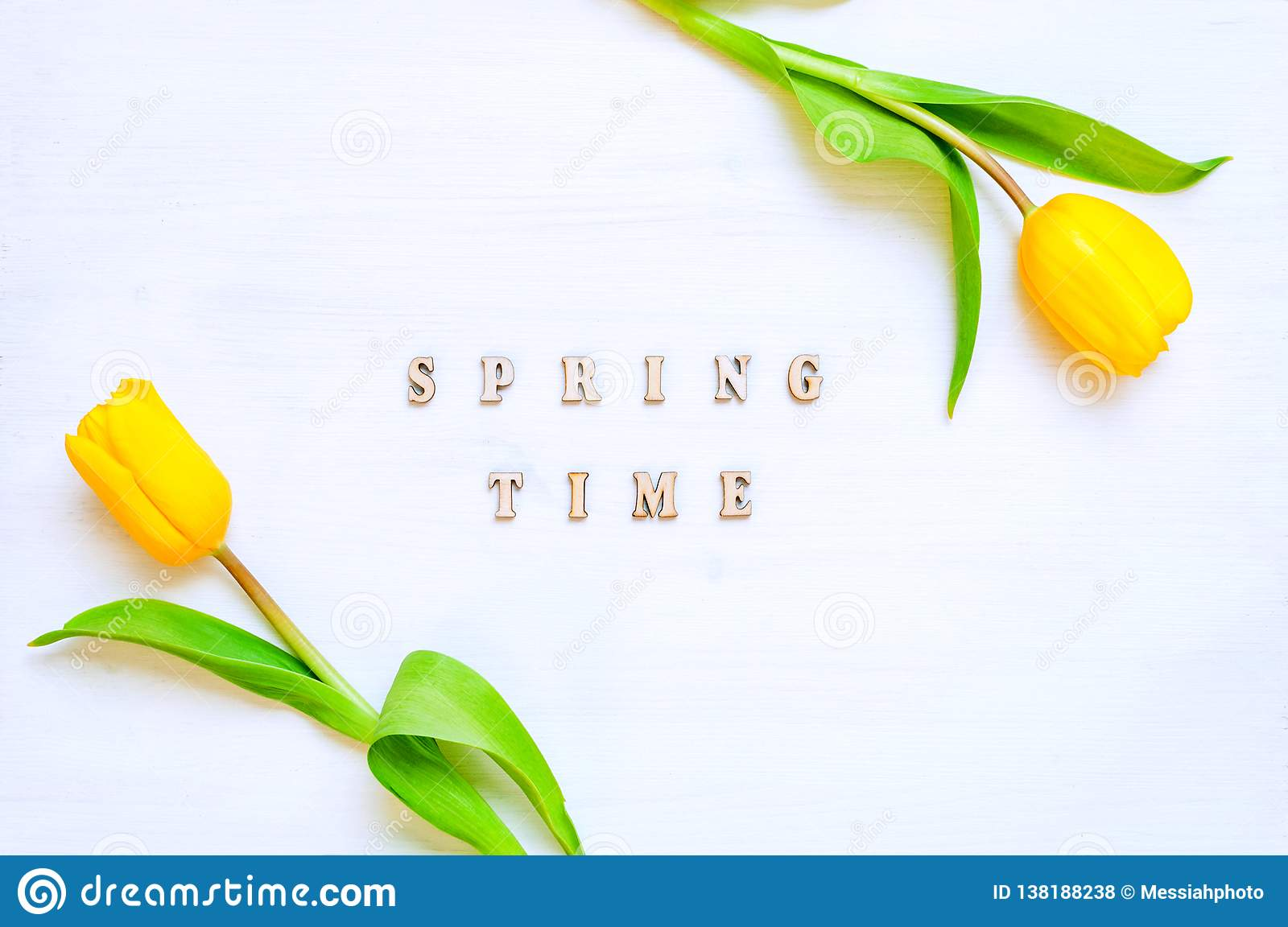 Spring flower background - yellow tulip flowers and wooden inscription Spring time on the white background