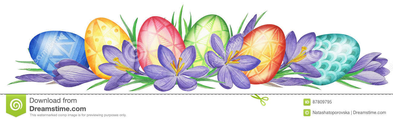 Spring Flower Banner Of Crocuses And Easter Eggs Watercolor