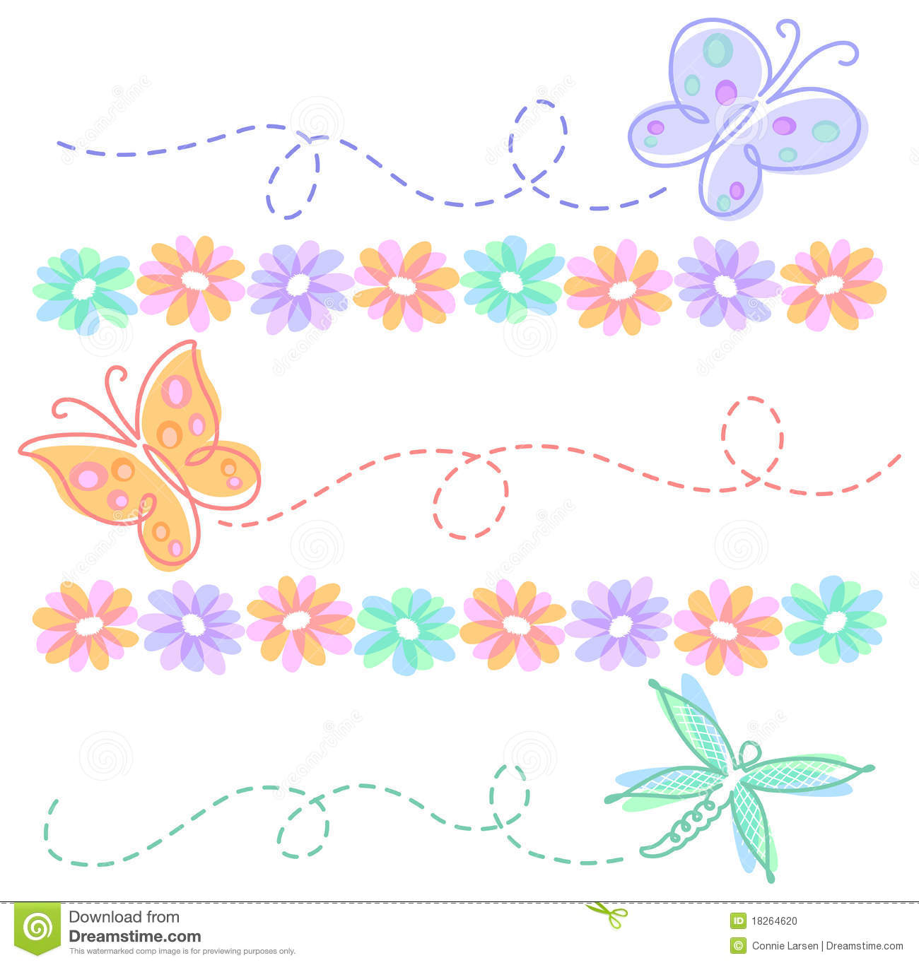 Spring Flower Butterfly Borders Eps Stock Vector Illustration Of