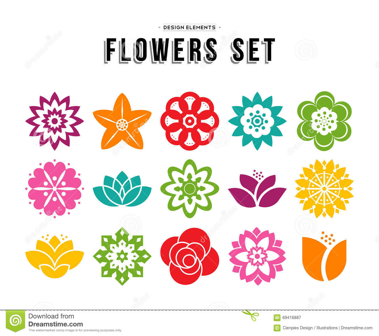 Spring Flower Icon Set With Colorful Flat Designs Stock Vector