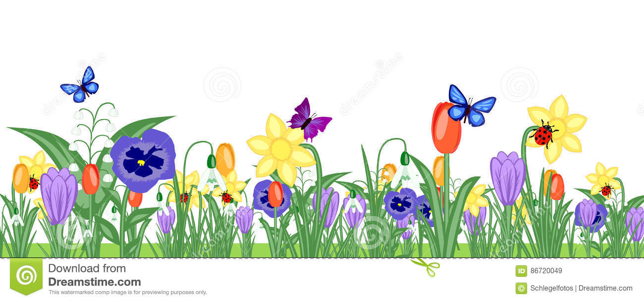 Spring Flower Meadow Banner Stock Illustration ...