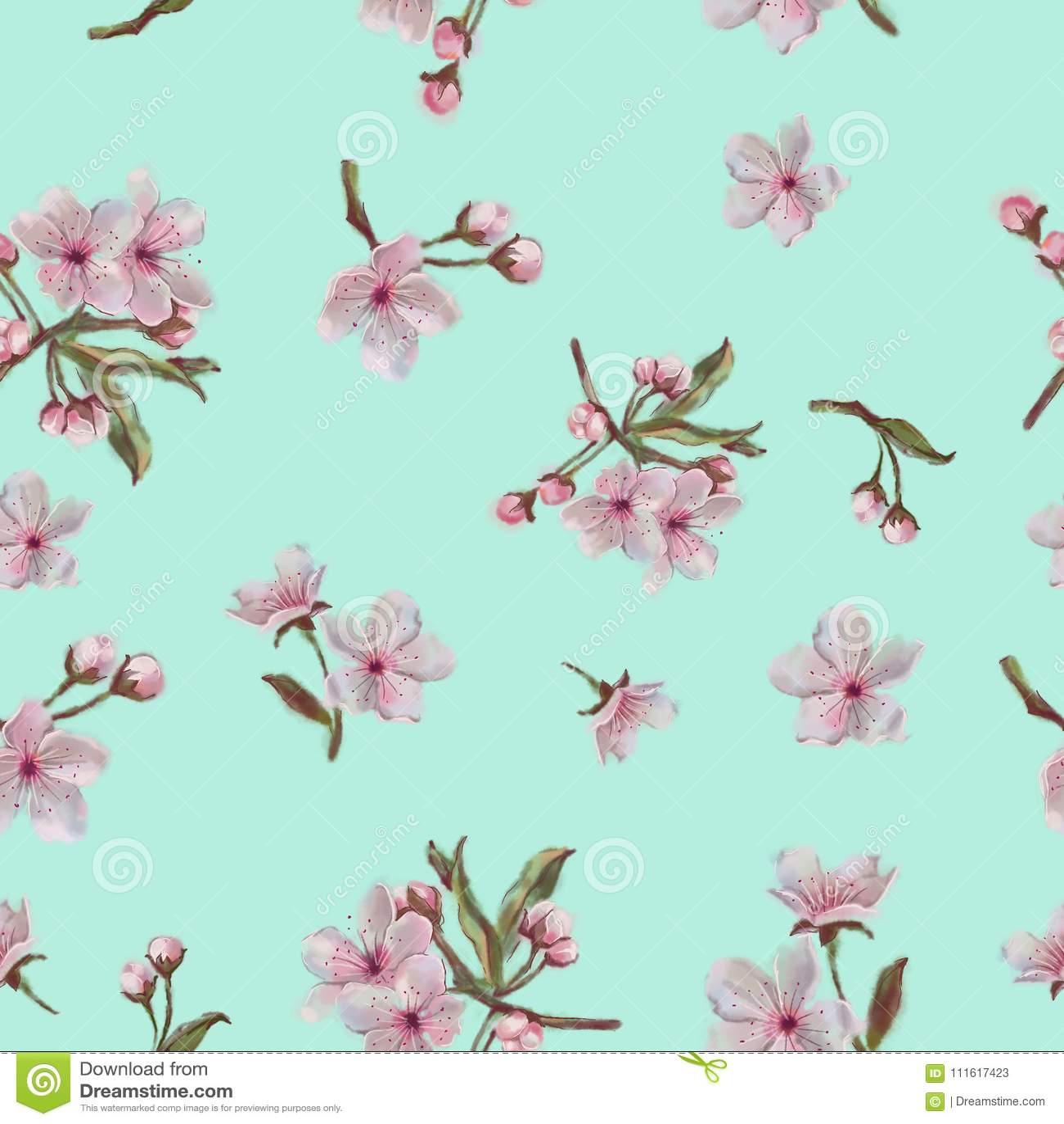 Spring Flower Pattern. Mint Background. For Background, Print ...
