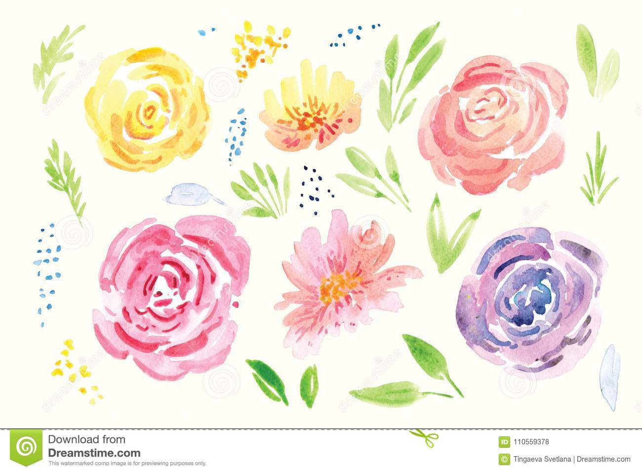 Spring Flower Watercolor Clip Art Stock Illustration Illustration