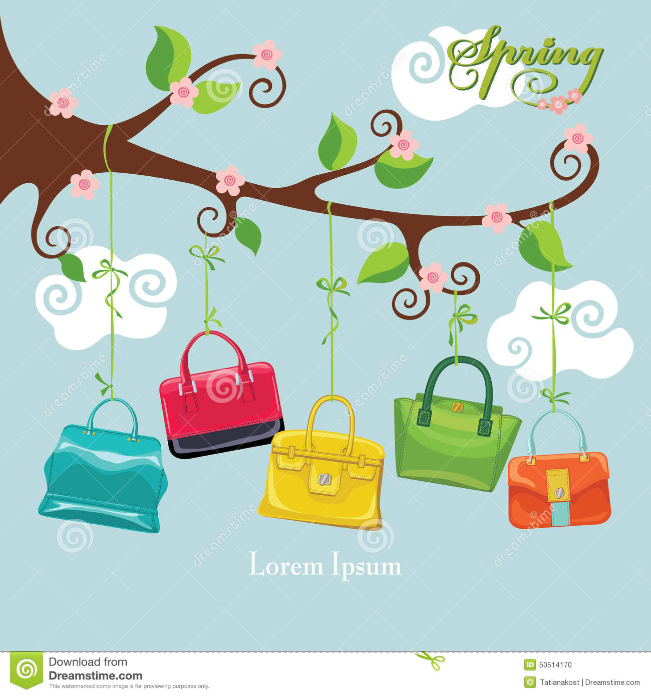 Spring flowering branch and colored handbags stock vector image