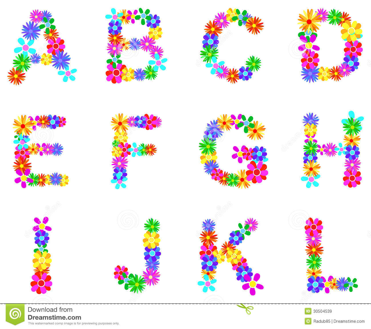 Free Flower Alphabet Clipart Intended For Your Inspiration