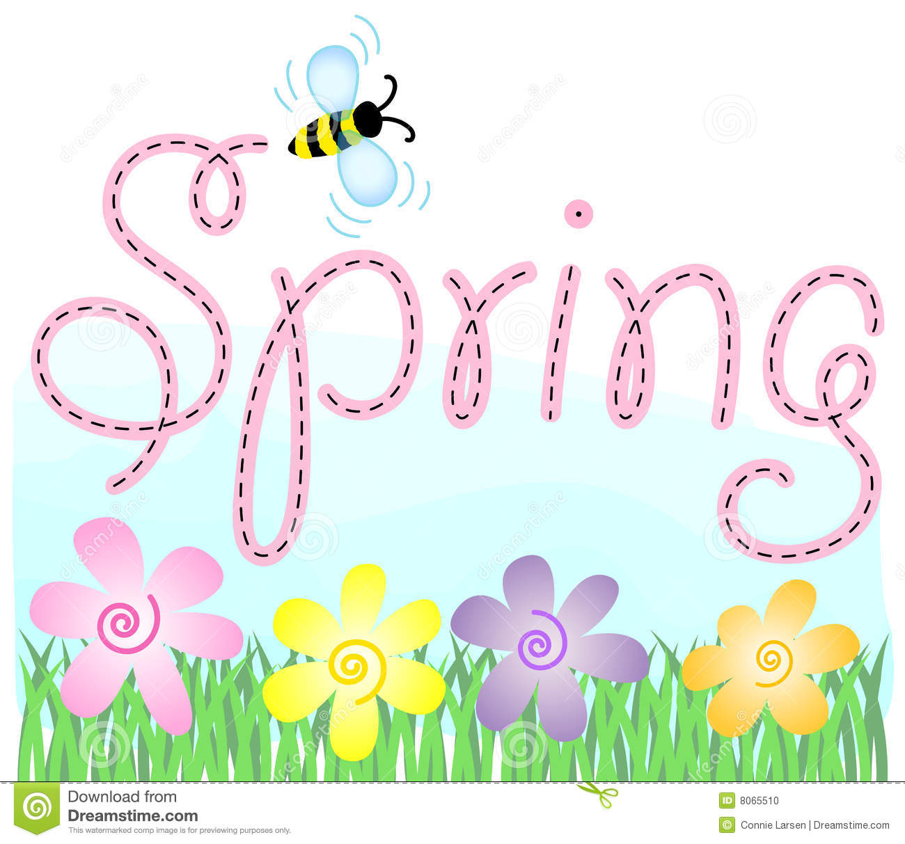 Spring Flowers And Beeeps Stock Vector Illustration Of Daisy 8065510