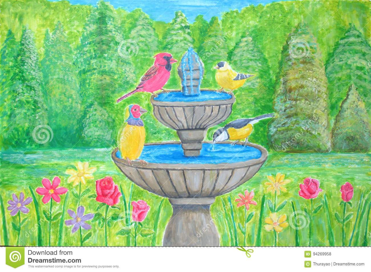 Spring flowers with bird in fountain