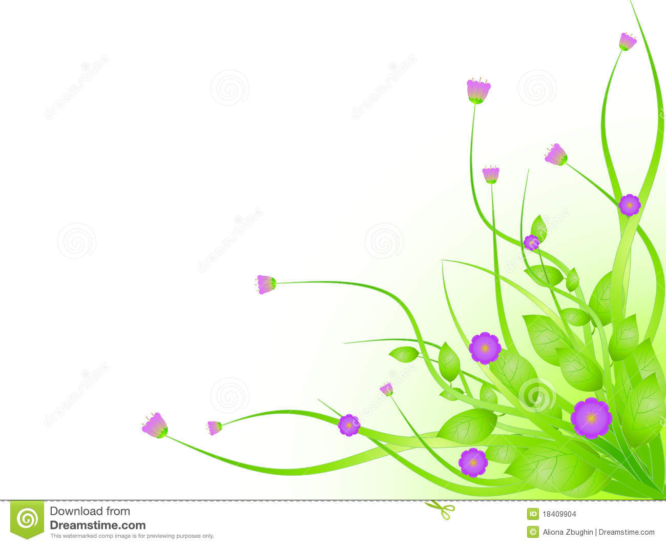 Beautiful spring flowers with white copy space. illustration.