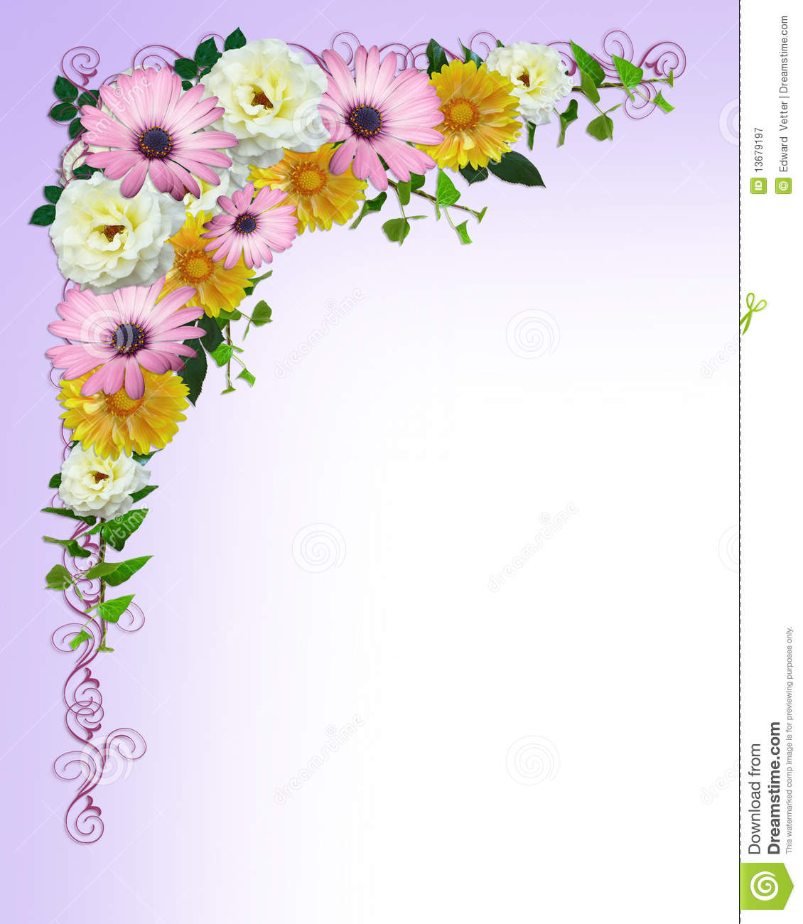 Spring Flowers Border Template Stock Illustration