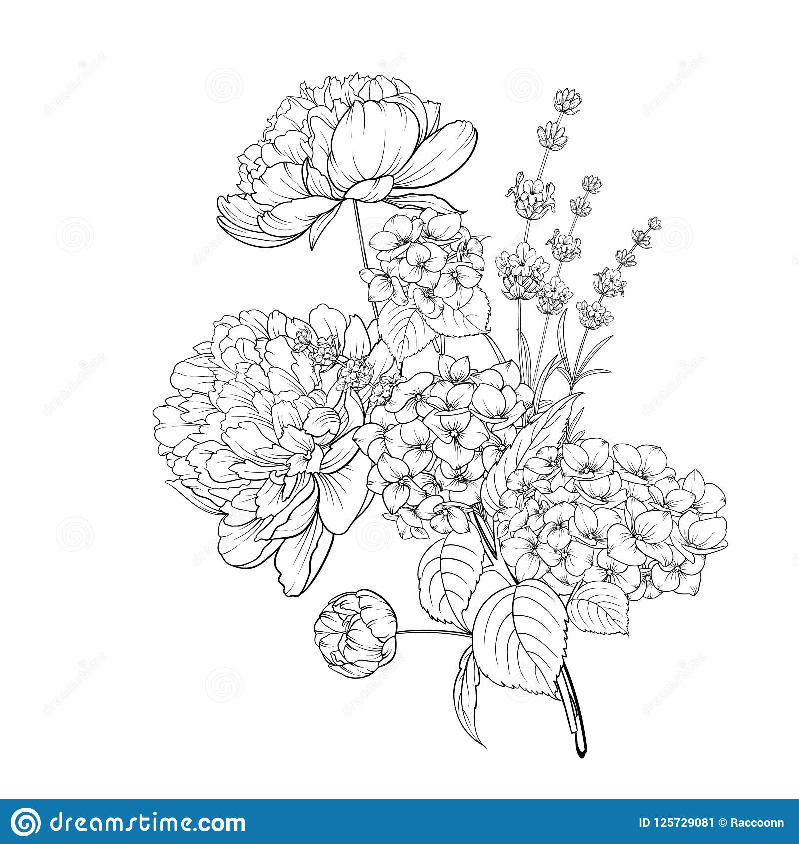 Spring Flowers Bouquet Of Color Bud Garland Label With Hydrangea