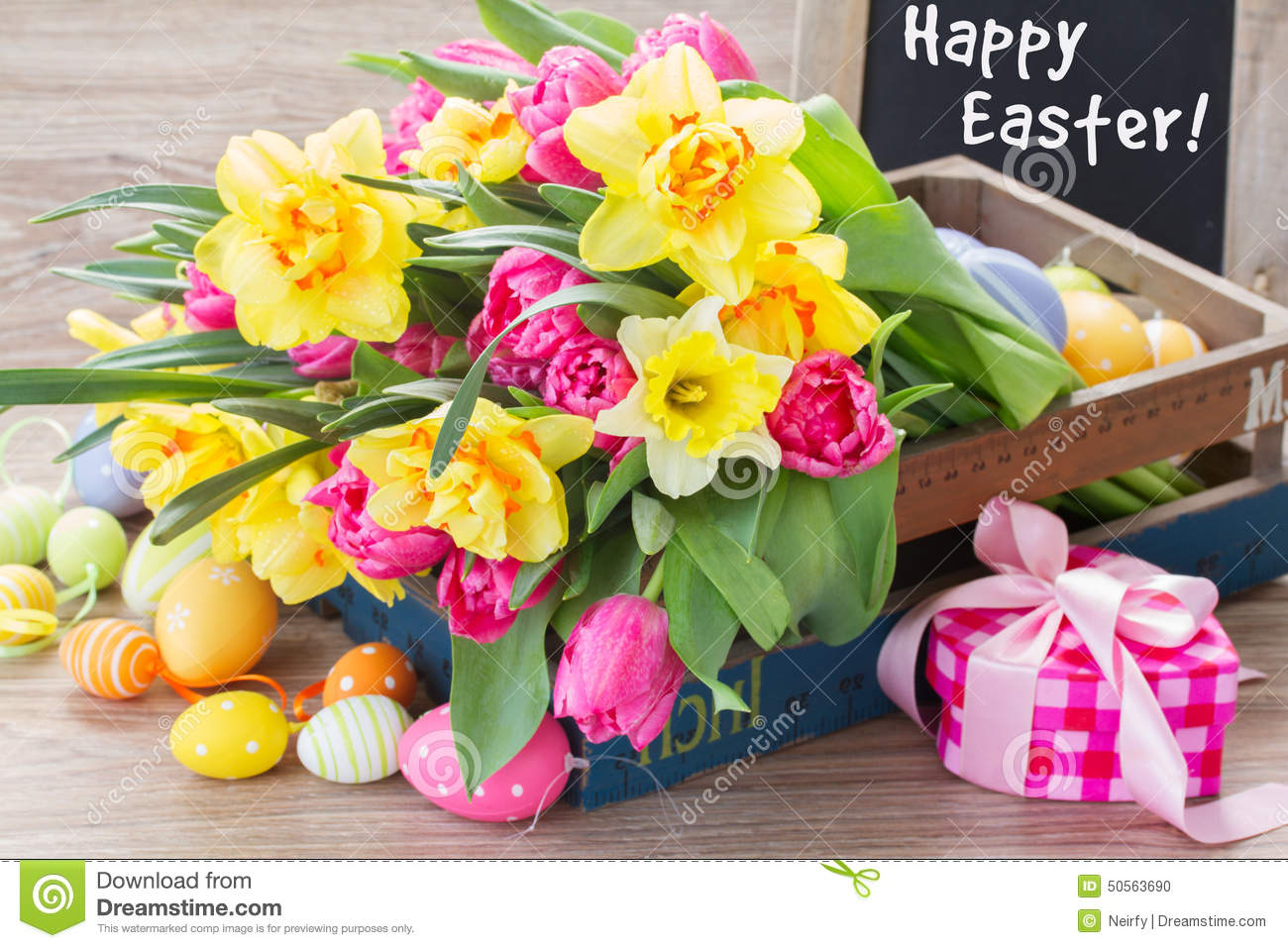 Spring Flowers Bouquet With Easter Eggs Stock Photo Image Of