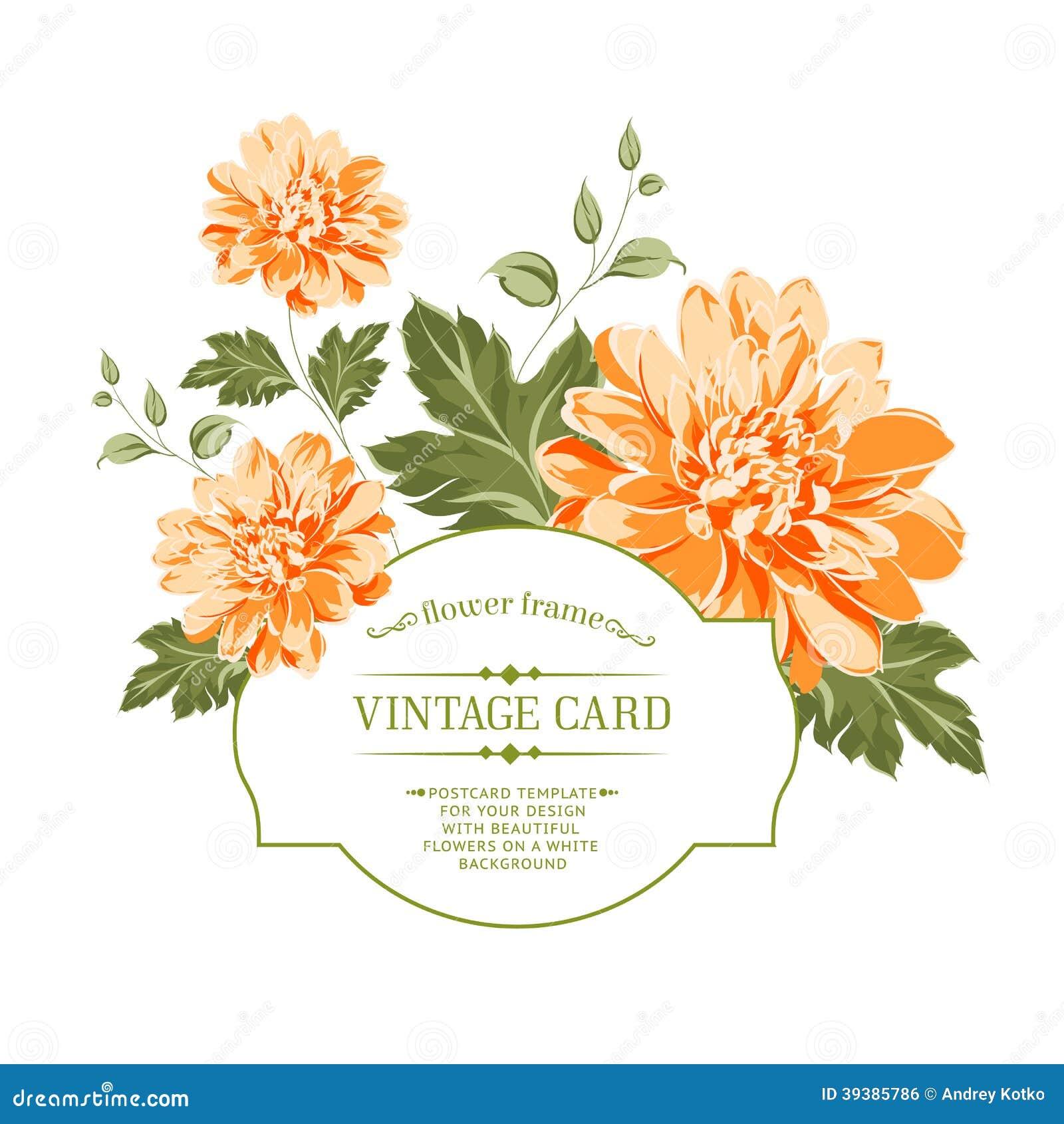Spring Flowers Bouquet For Vintage Card Stock Vector Illustration