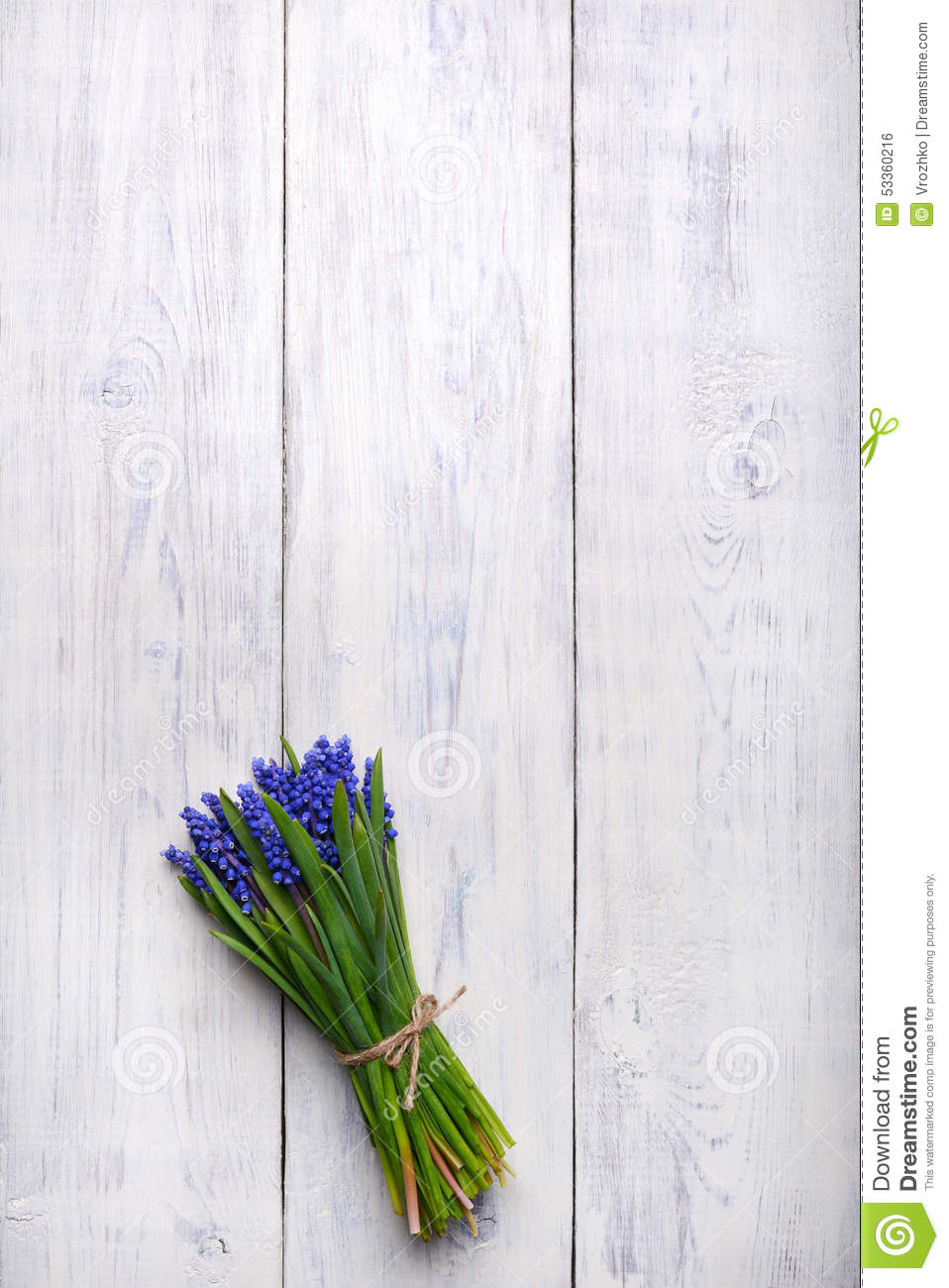 Spring Flowers Bouquet On Wooden Table Top View Copy Space Stock