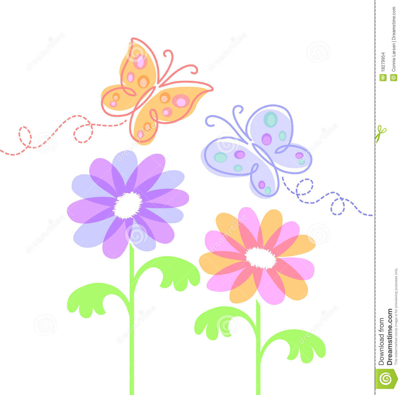 Spring Flowers And Butterflies Eps Stock Vector Illustration Of