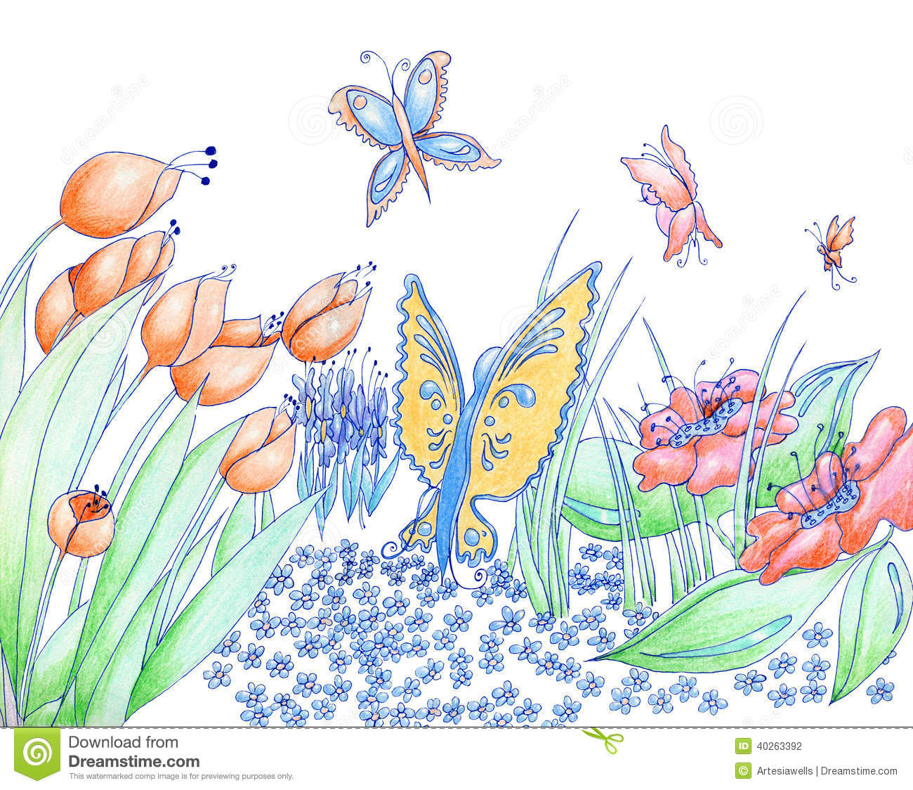 Spring Flowers And Butterflies Hand Drawn Background Pencil And