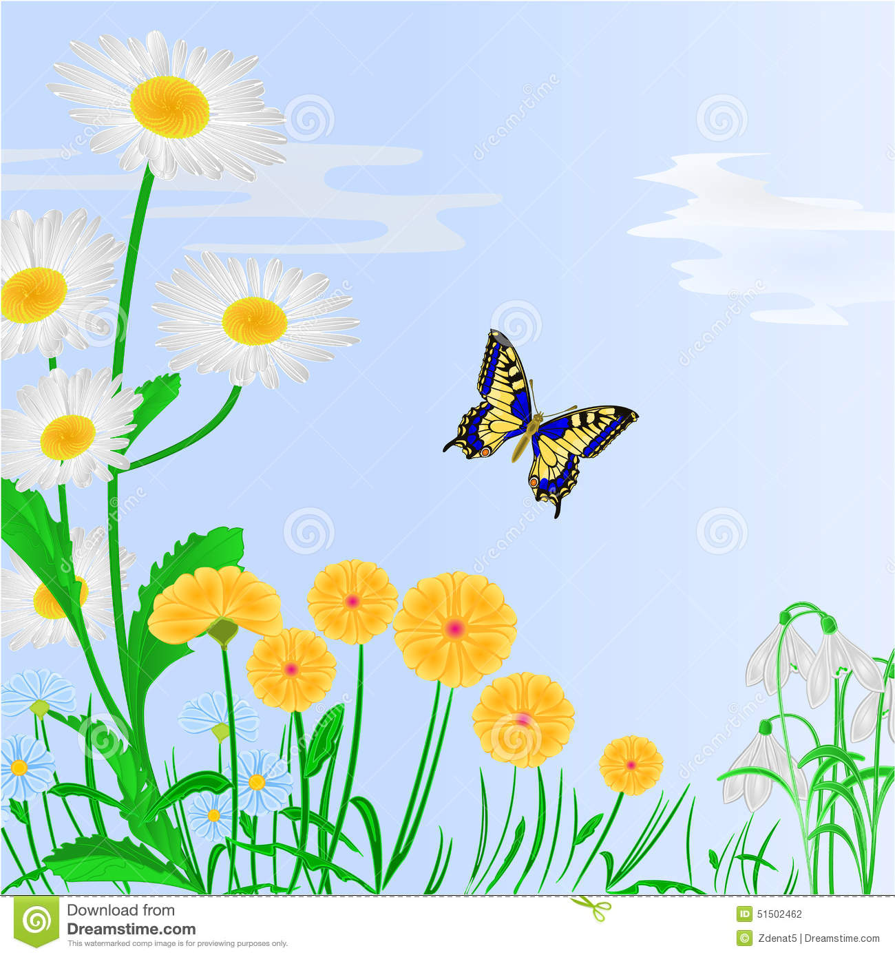 Spring Flowers And Butterfly Blue Background Vector Stock Vector