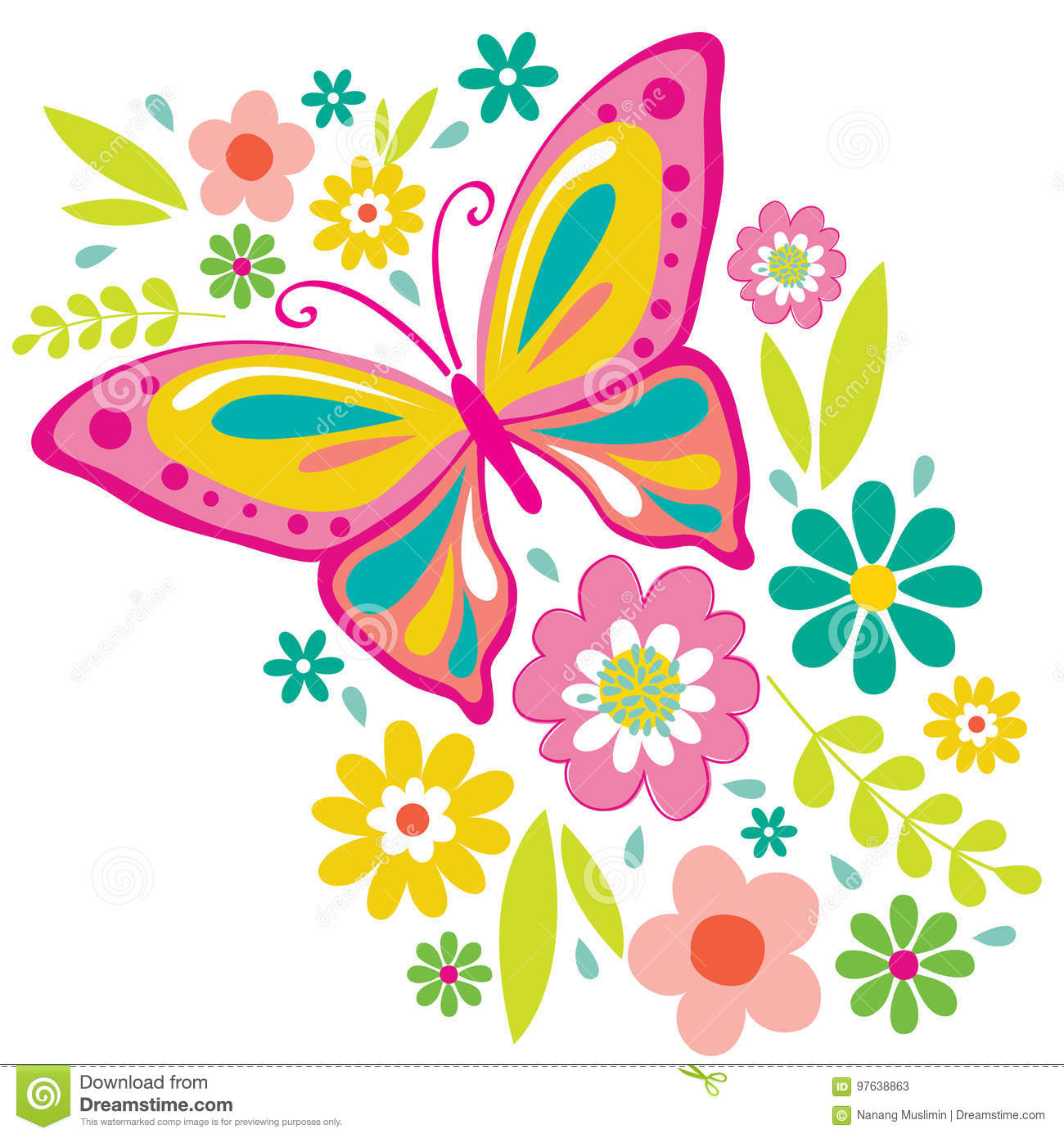 Spring Flowers And Butterfly Stock Vector Illustration Of