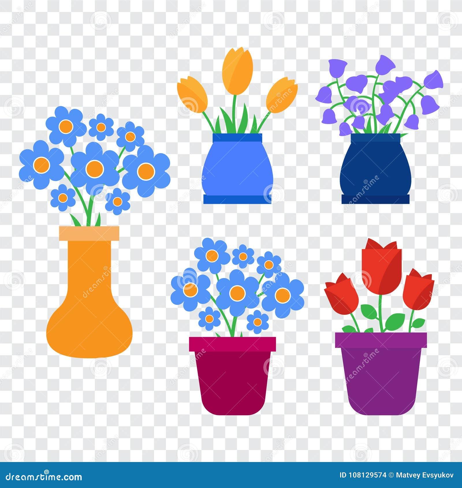 Spring Flowers Cute Vector Spring Flowers Icons Simple Flowers