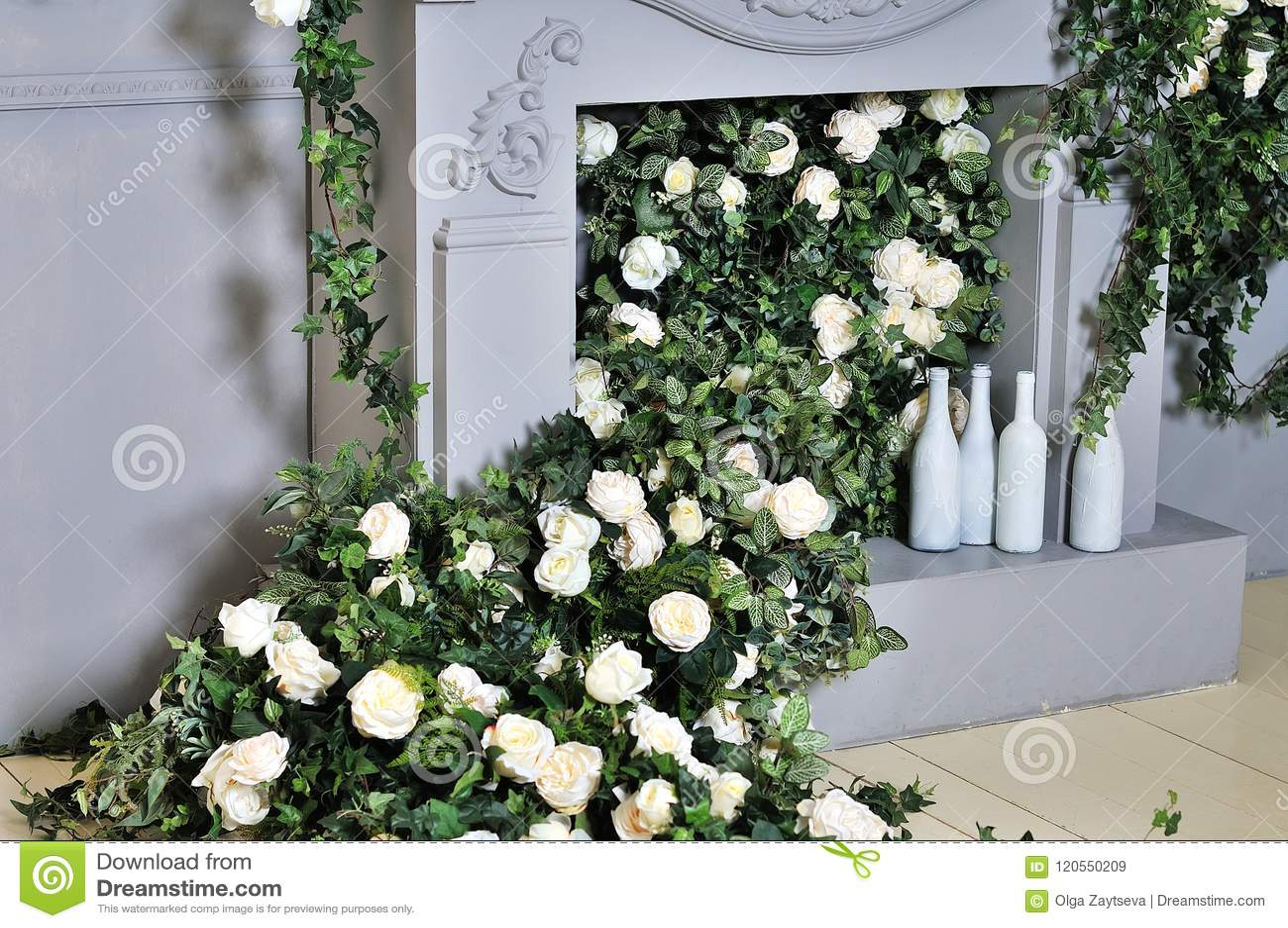 Spring Flowers Decoration Beautiful Fireplace Stock Image Image Of