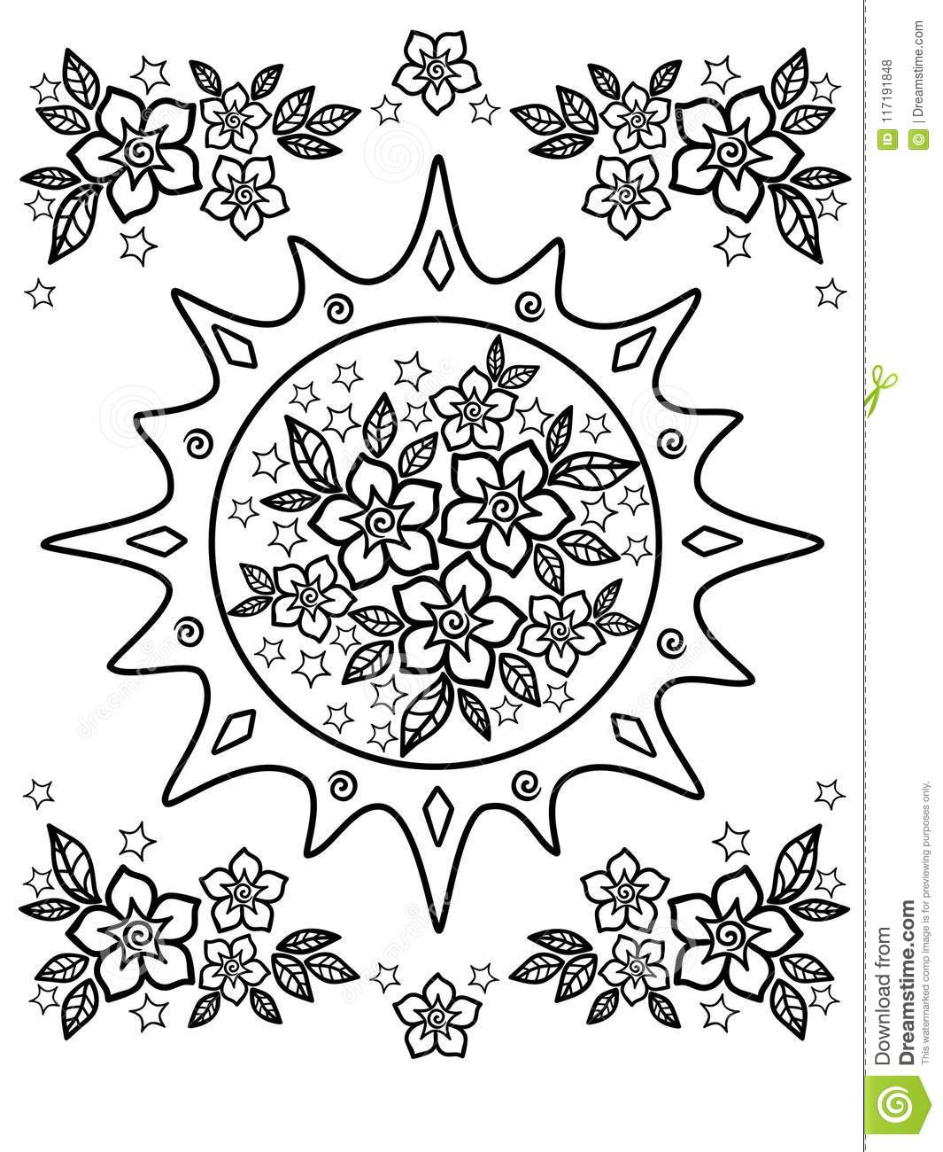 Spring Flowers Drawing For Coloring Anti Stress Coloring Book For