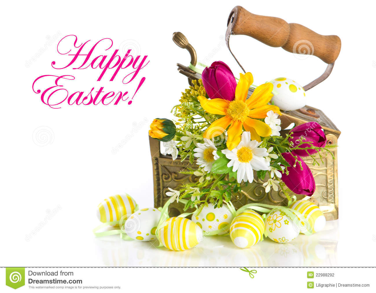 Spring Flowers And Easter Eggs On White Background Stock Photo