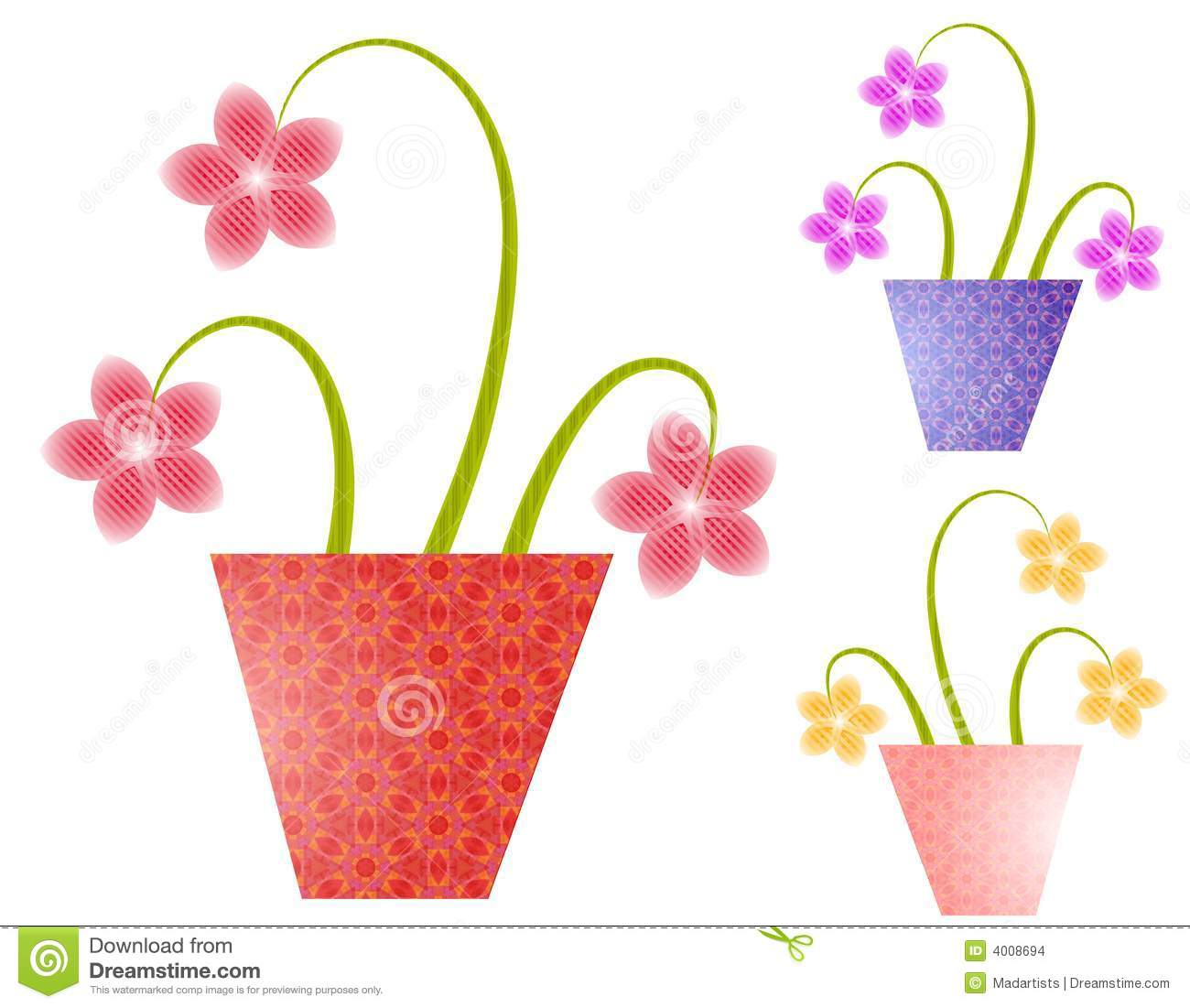 Spring Flowers In Flower Pots Stock Vector Illustration Of