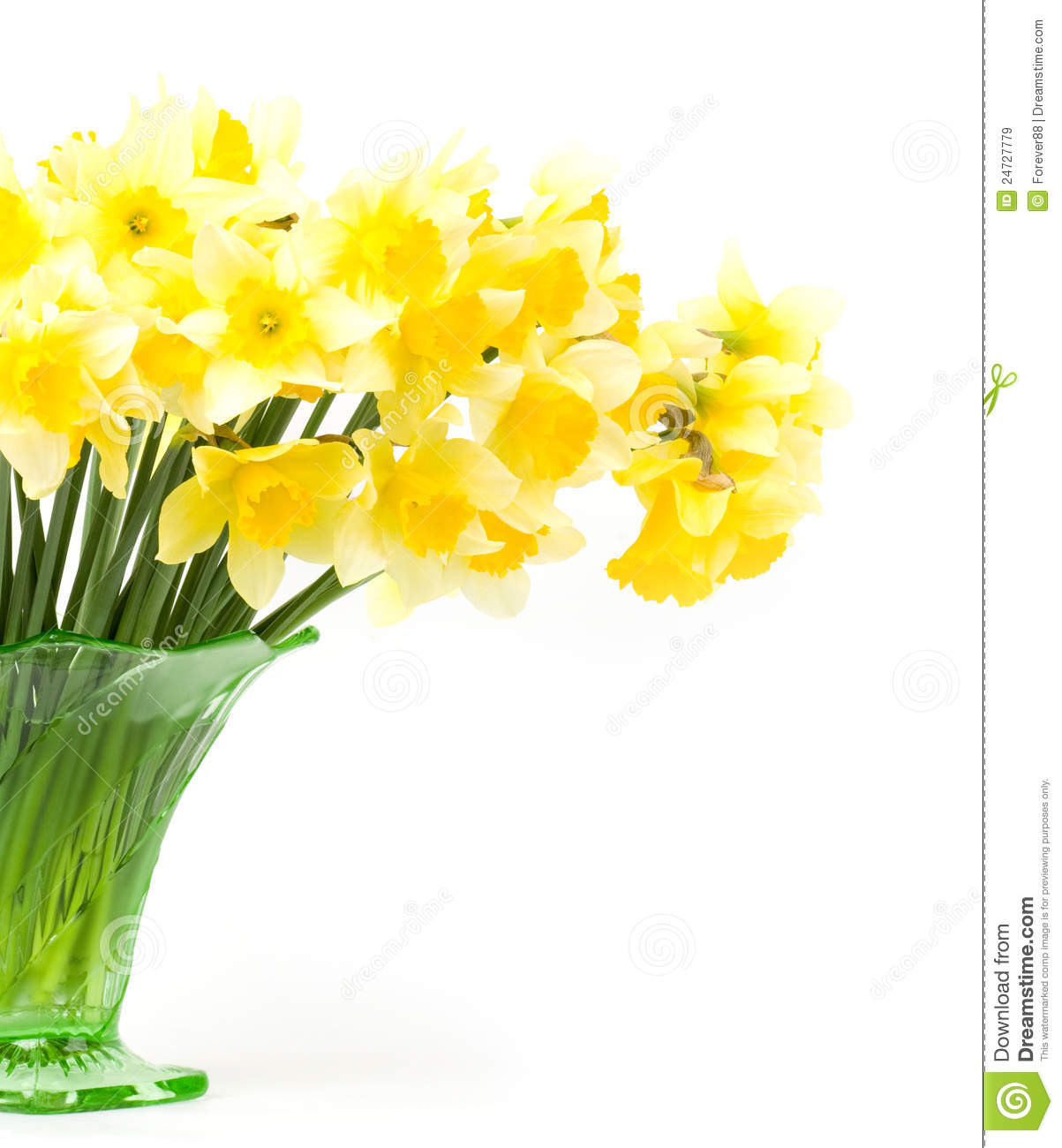 spring flowers in a glass vase stock image