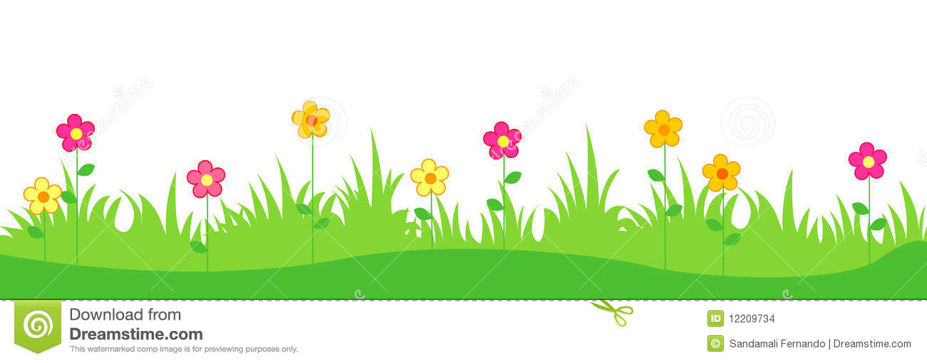 Spring Flowers And Grass Stock Vector Illustration Of Field 12209734