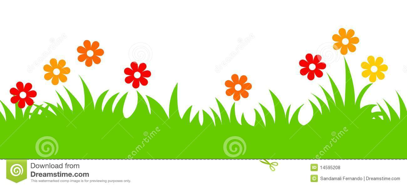 Spring Flowers And Grass Header Stock Vector ...