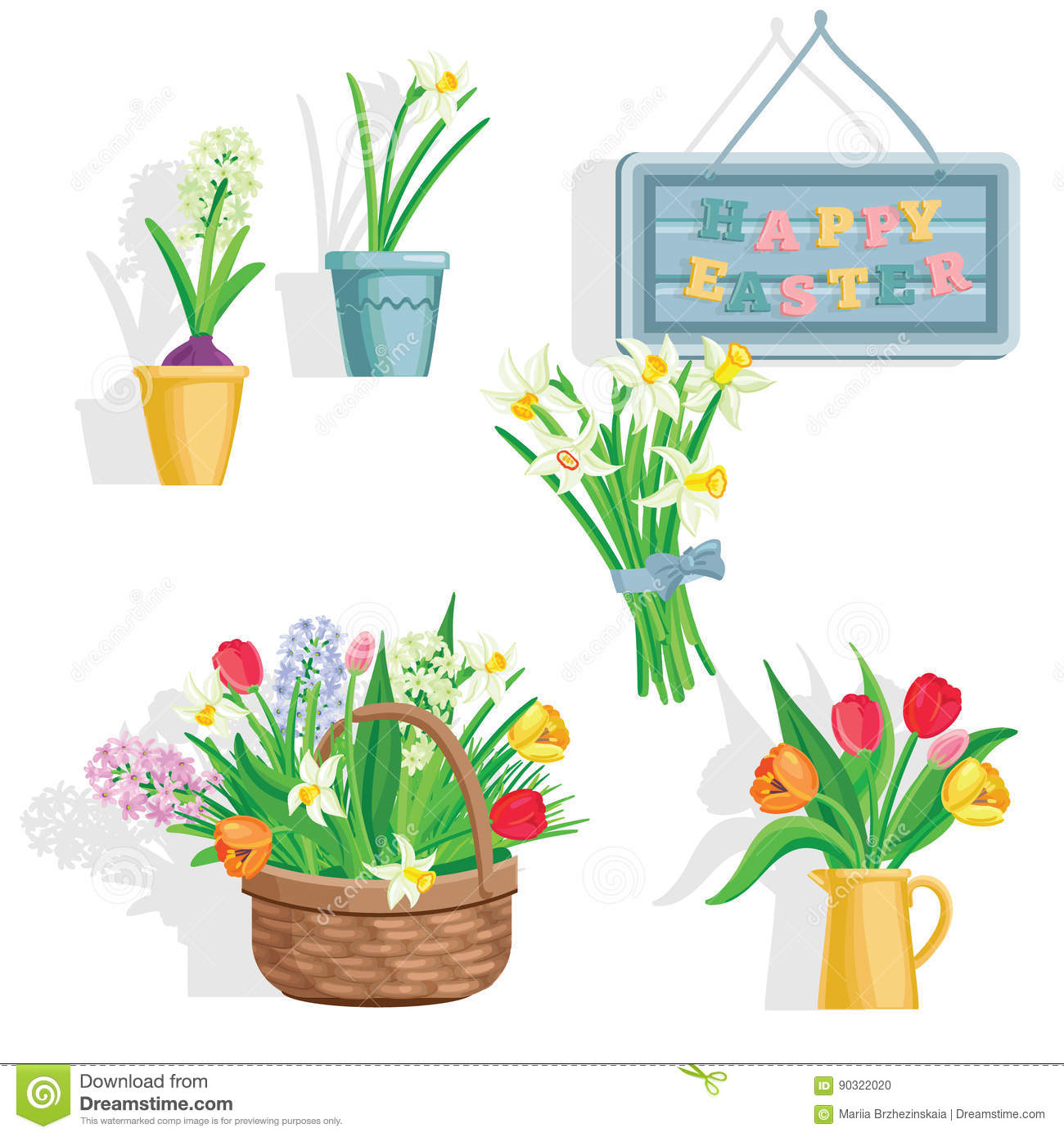 Spring Flowers Growing In The Garden Icons And Borders Elements On