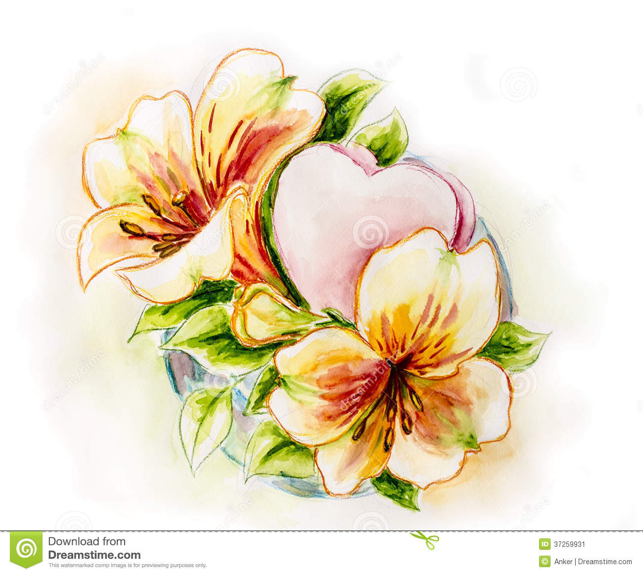 Spring flowers with heart stock image image 37259931 for Spring flowers watercolor