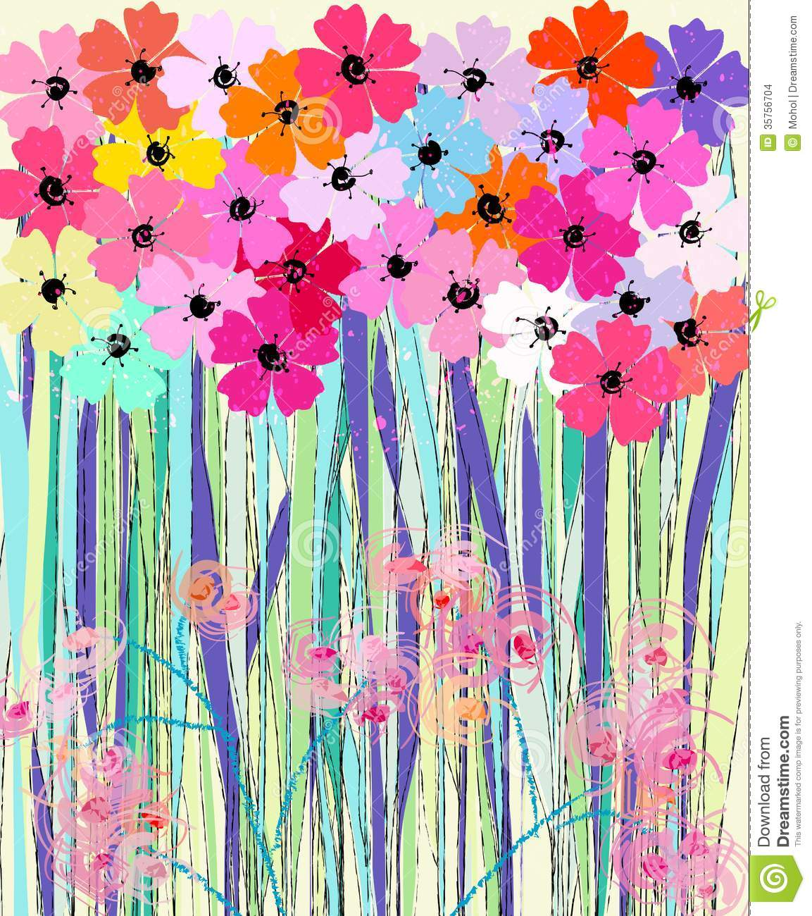 Spring Flowers Illustration Stock Vector Illustration Of Fabric