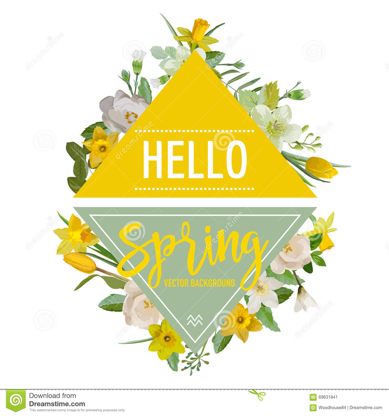 Spring Flowers And Leaves Background Graphic Design Stock Vector